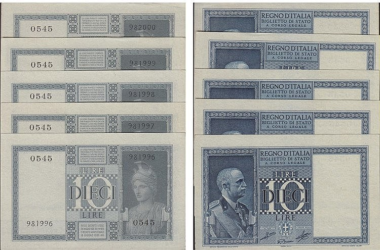 Paper Money - 5 expl. Italy 10 Lire 1939