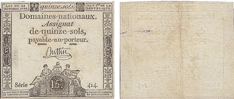 Paper Money - France 15 Sois 1792