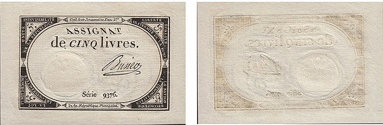Paper Money - France 5 Livres ND (1793)