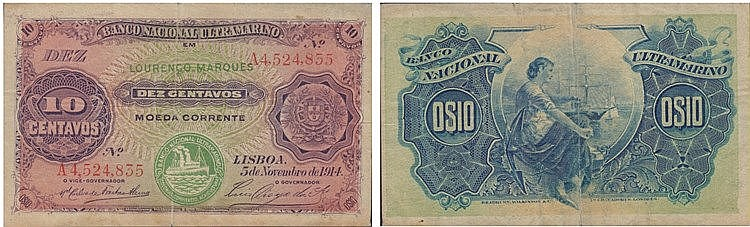 Paper Money - Mozambique 10 Centavos 1914