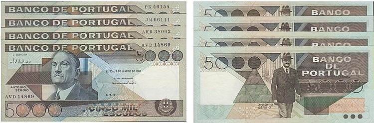 Paper Money - Portugal 4 specimens 5000$00 ch. 1 1981-1986