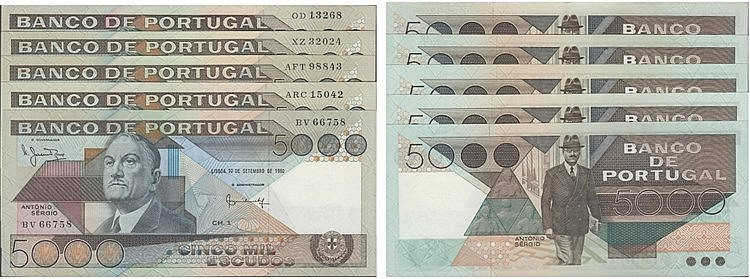 Paper Money - Portugal 5 specimens 5000$00 ch. 1 1980-1986