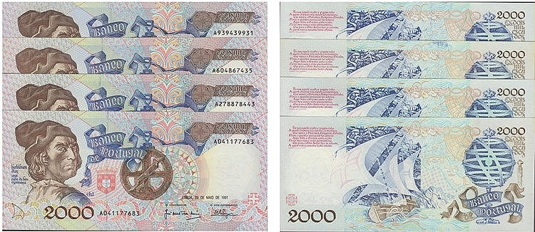 Paper Money - Portugal - 4 expl. 2000$00 ch. 1 1991-1993