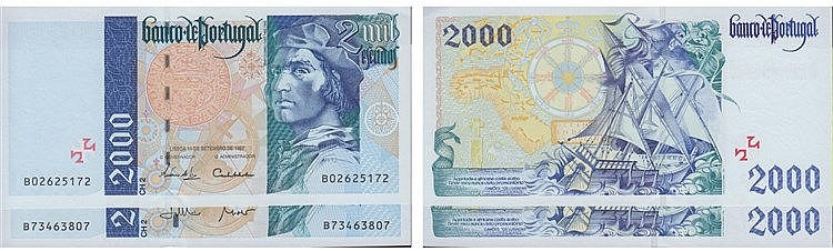 Paper Money - Portugal - 2 expl. 2000$00 ch. 2 1997-2000