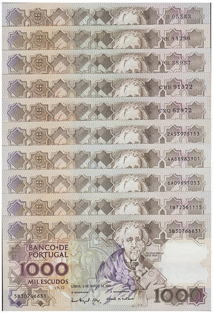 Paper Money - Portugal 10 specimens 1000$00 ch. 12 1983-1994
