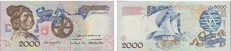 Paper Money - Portugal - 2000$00 ch. 1 1993, Substituição