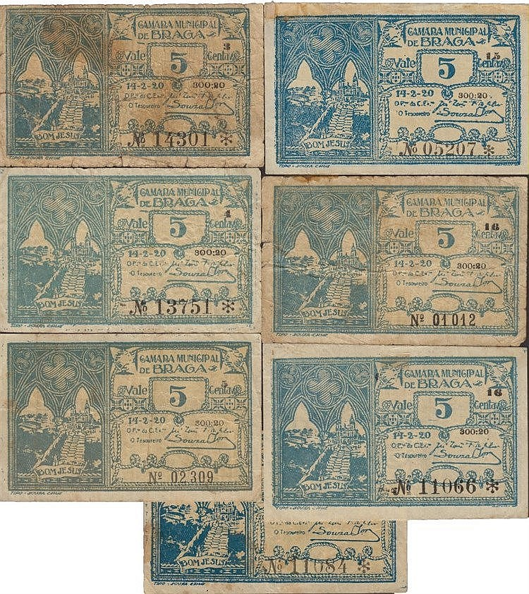 Cédula - Braga 7 expl. 5 Centavos 1920