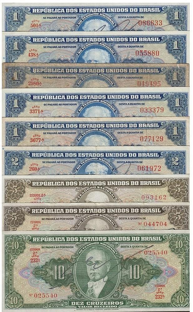 Paper Money - 9 expl. Brasil 1, 2, 5, 10 Cruzeiros ND(1944-1962)