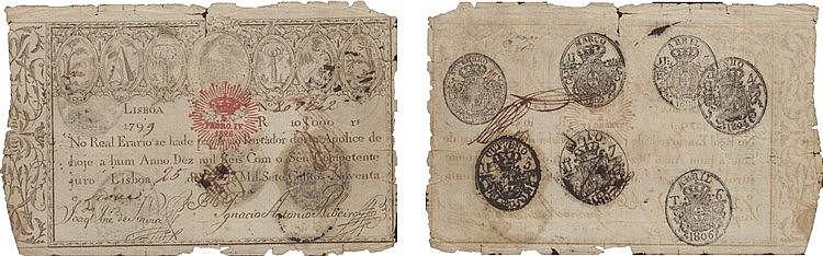 Apólice Real Erário - 10$000 Réis 1799