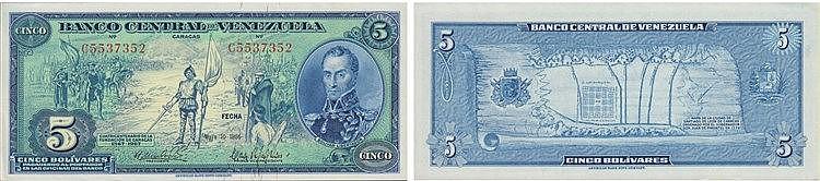 Paper Money - Venezuela 5 Bolivares 1966