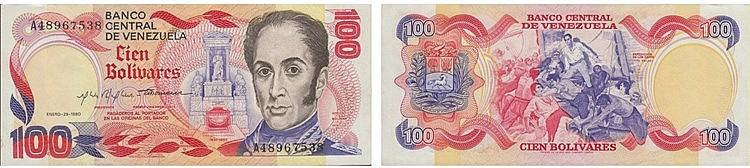 Paper Money - Venezuela 100 Bolivares 1980