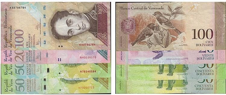 Paper money - Venezuela 4 expl. 20, 50, 100 Bolívares 2009-2011