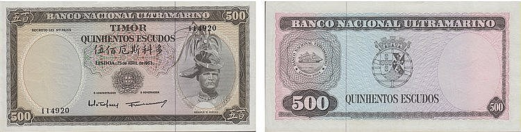 Paper Money - Timor 500$00 1963