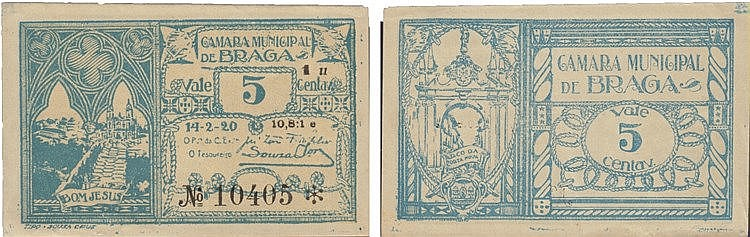 Cédula - Braga 5 Centavos 1920