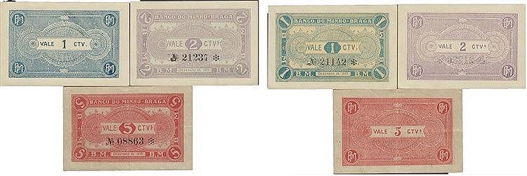 Cédula - Braga 3 expl. 1, 2, 5 Centavos 1919
