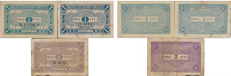 Cédula - Braga 3 expl. 1, 2 Centavos 1919