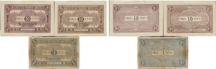 Cédula - Braga 3 expl. 1, 10 Centavos 1919