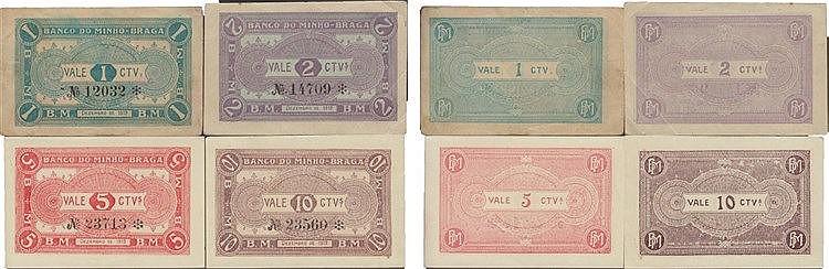 Cédula - Braga 4 expl. 1, 2, 5, 10 Centavos 1919