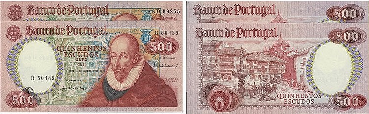 Paper Money - Portugal - 2 expl. 500$00 ch. 11 1979