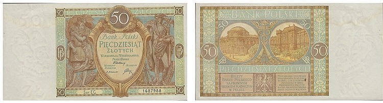 Paper Money - Poland 50 Zlotych 1929