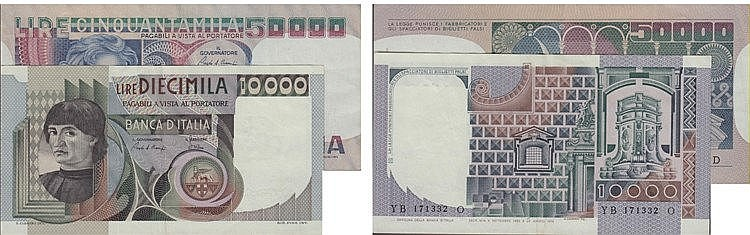 Paper Money - Italy 2 expl. 10 000, 50 000 Lire ND