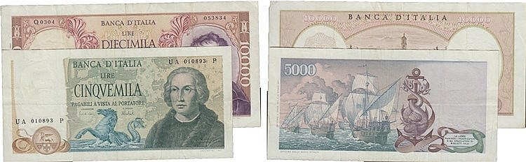 Paper Money - Italy 2 expl. 5 000, 10 000 Lire ND