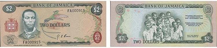 Paper Money - Jamaica 2 Dollars 1973