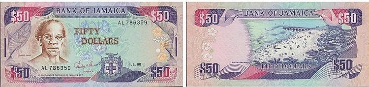 Paper Money - Jamaica 50 Dollars 1988