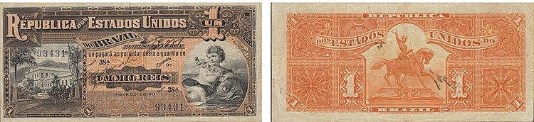 Paper money - Brasil 1000 Réis ND (1917)