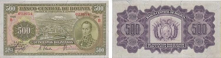 Paper Money - Bolívia 500 Bolivianos 1928