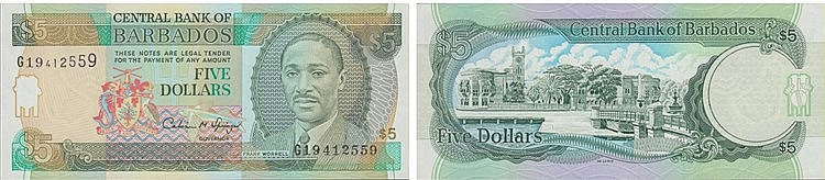 Paper Money - Barbados 5 Dollars ND (1996)