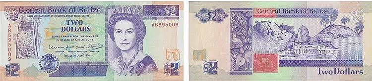 Paper Money - Belize 2 Dollars 1991