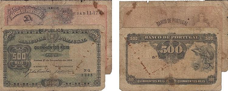 Paper Money - Portugal - 2 expl. 500 Réis, 1$00 1904-1920