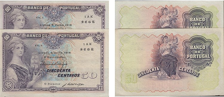paper Money - 2 bank notes Portugal 50 Centavos ch. 1 1918