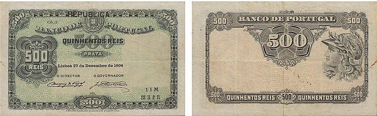 Paper Money - Portugal - 500 Réis ch. 3 1904