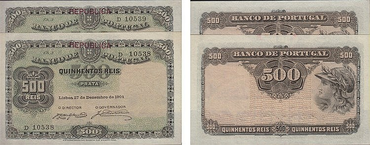 Paper Money - Portugal - 2 expl. 500 Réis ch. 3 1904