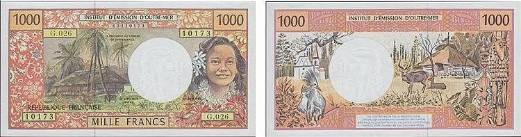 Paper Money - French Pacific Territories 1000 Francs ND (1996)