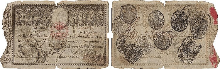 Paper Money - Apólice do Real Erário - 20$000 Réis 1799