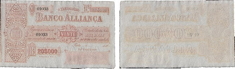 Portugal - Paper money - Banco Aliança 20$000 Réis 18( )