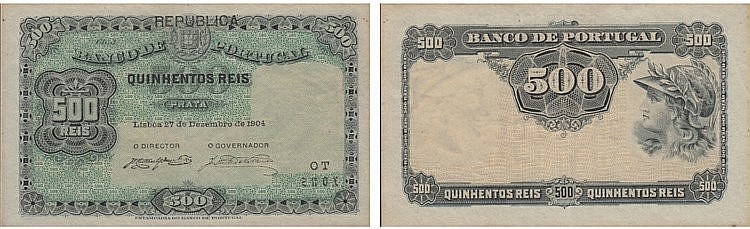 Paper Money - Portugal - 500 Reis ch. 3 1904