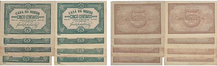 Cédula - Casa da Moeda 8 expl. 5 Centavos 1918
