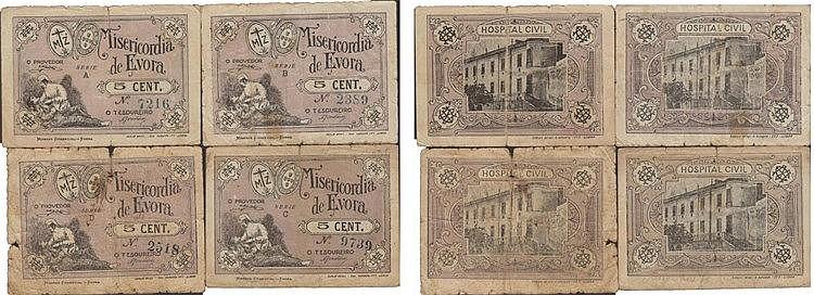 Cédula - Évora 4 expl. 5 Centavos N/D