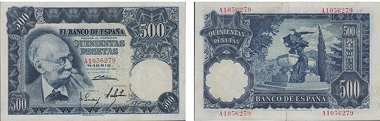 Paper Money - Spain 500 Pesetas 1951
