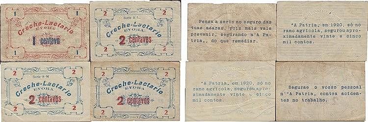 Cédula - Évora 4 expl. 1, 2 centavos N/D