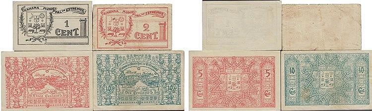 Cédula - Estremoz 4 expl. 1, 2, 5, 10 Centavos N/D-1921