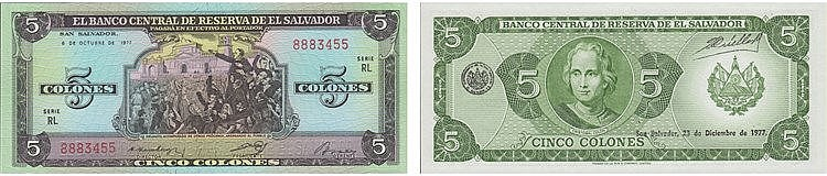 Paper Money - El Salvador 5 Colones 1977
