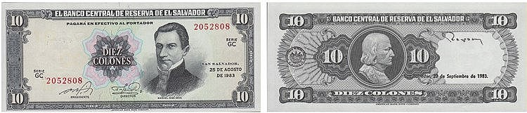 Paper Money - El Salvador 10 Colones 1983