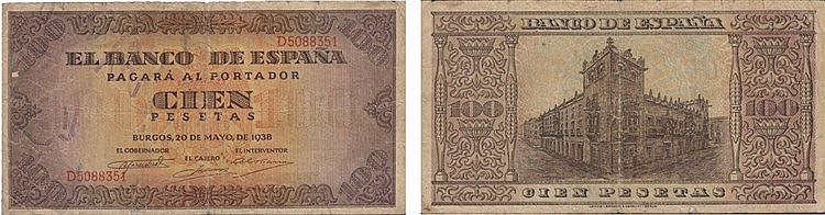 Paper Money - Spain 100 Pesetas 1938