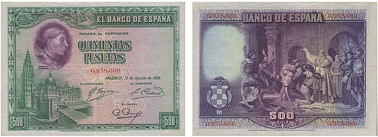 Paper Money - Spain 500 Pesetas 1928