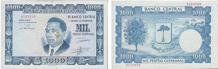 Paper Money - Guiné-Equatorial 1000 Pesetas 1969